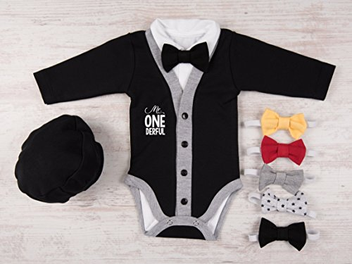 1st Birthday Boy Outfit Mr Onederful Set Of 4 Black