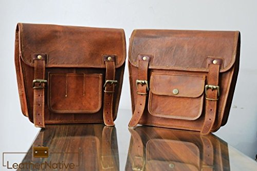 2-X-Motorcycle-Side-Pouch-Brown-Leather-Side-Pouch-Saddlebags-Saddle-Panniers-2-Bags-Pre-Valentines-Day-Special-Sale-0