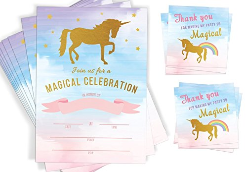 20-Unicorn-Invitations-Unicorn-Party-Supplies-Favor-Tags-and-Envelopes-Rainbow-Party-Fill-In-Invitations-0