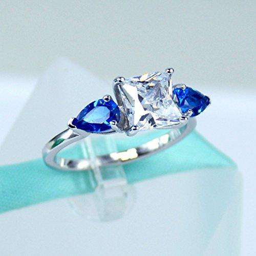 2carat Princess Cut Simulated Diamond Blue Pear Sapphire