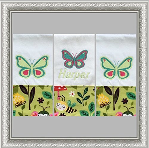 3-Butterfly-Embroidered-Personalized-Burp-Cloths-Blue-Pink-and-Green-Butterfly-Burp-Cloths-Shower-Gift-Boutique-Burp-Cloth-0