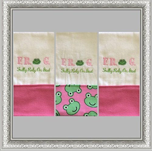 3-FROG-Embroidered-Personalized-Burp-Cloths-Pink-FROG-Fully-Rely-On-God-Burp-Cloth-Boutique-Burp-Cloth-Baby-Shower-Gift-0