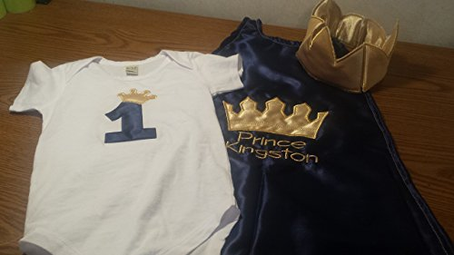 3-piece-1st-Birthday-baby-boy-birthday-set-outfit-Smash-cake-photo-prop-prince-king-navy-blue-gold-crown-onesie-cape-crown-hat-0