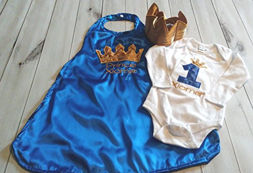 3-piece-1st-Birthday-baby-boy-birthday-set-outfit-Smash-cake-photo-prop-prince-king-royal-blue-gold-crown-onesie-cape-Crown-Hat-6-months-to-24-months-0