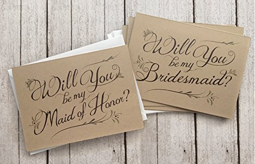 5-Pack-Will-You-Be-My-Bridesmaid-Cards-4-Maid-of-Honor-Card-1-Assortment-Pack-of-5-Kraft-Rustic-Wedding-Party-Cards-0