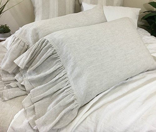 A-pair-of-Linen-Ticking-Striped-Pillow-Covers-with-mermaid-long-ruffles-Shabby-Chic-Pillow-Cases-Ticking-Striped-Striped-Pillow-Cover-Pillow-Protector-Handmade-100-Flex-Linen-FREE-SHIPPING-0