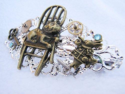 Alice-in-Wonderland-Steampunk-Barrette-Hair-Clip-Headband-Custom-Charms-0
