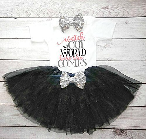 Baby-Girl-Hospital-Outfit-Watch-out-world-here-she-comes-Bodysuit-tutu-headband-0