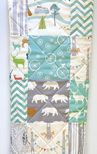Baby-Quilt-Rustic-Woodland-Mint-Aqua-and-Gray-Longer-version-0