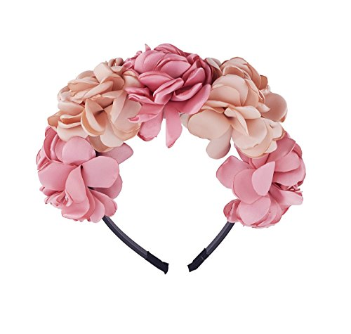 Be-Unique-Bowtique-Flower-Crown-Headband-Satin-Champagne-and-Pink-Flowers-Designer-Quality-Plastic-Headband-with-Teeth-0