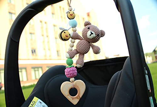 Bear Bees Hanging Toy Car Seat Toy Pram Toy Stroller Toy Baby Gym Toy Baby Rattle Baby Activity Center Toy Gender Neutral Woodland Mobile