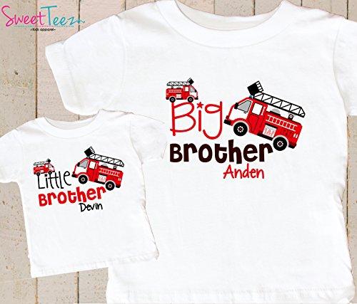 Big-Brother-Little-Brother-Shirt-Personalized-Fire-Truck-Shirt-Boy-Set-of-2-Shirts-FireTruck-Gift-Set-0