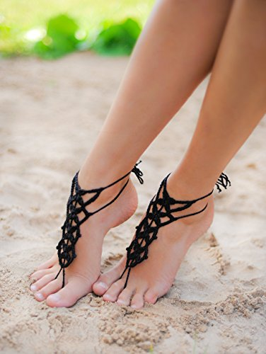 Black-Barefoot-Sandal-Feet-thongs-Crochet-Foot-jewelry-Womens-Fashion-Accessory-Nude-shoes-Gift-for-her-Wedding-shoes-Bridesmaid-gift-0