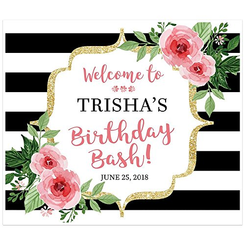 Black-and-White-Striped-Floral-Banner-Welcome-to-my-Party-Backdrop-Decoration-0