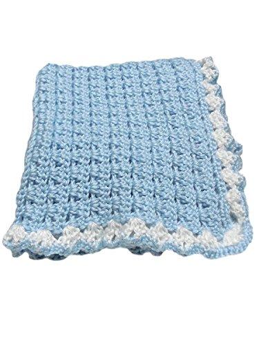 Blue-Crochet-Handmade-Baby-Boy-Blanket-White-Trim-Baby-Gift-31-x-35-0