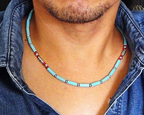 Blue-Magnesite-Stone-and-Red-Coral-Mens-Beaded-Necklace-18-19-20-22-inch-Handcrafted-in-USA-0