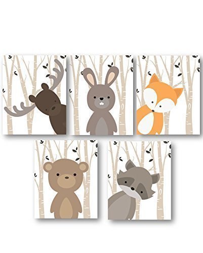 Boy-Nursery-Art-Woodland-Nursery-Animals-Baby-Room-Decor-Set-of-5-PRINTS-ONLY-Frames-or-Mats-are-NOT-Included-Must-be-Framed-by-you-to-be-hung-0