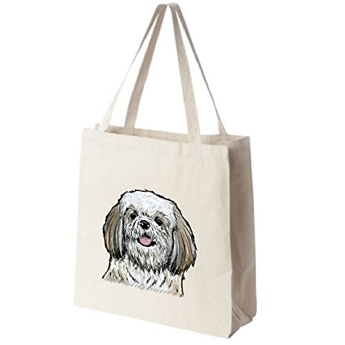 Brown-and-White-Shih-Tzu-Dog-Portrait-Color-Design-Extra-Large-Reusable-Cotton-Canvas-Grocery-Shopping-Tote-Bag-0