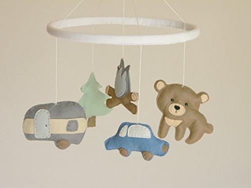 Camping-baby-mobile-Felt-stuffed-animals-mobile-Woodland-baby-mobile-Transportation-boy-mobileTravel-nursery-decor-Felt-car-bear-tree-camper-0