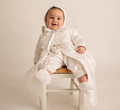 Christening-Gown-Burbvus-B002-Baby-Boy-Baptism-Outfit-Handmade-100-Silk-White-or-Ivory-0