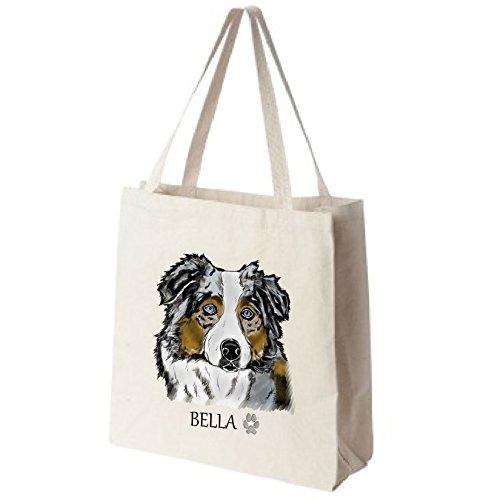 Cotton-Canvas-Reusable-Tote-Bag-Personalized-Blue-Merle-Australian-Shepherd-Color-Portrait-Choose-Your-Breed-0