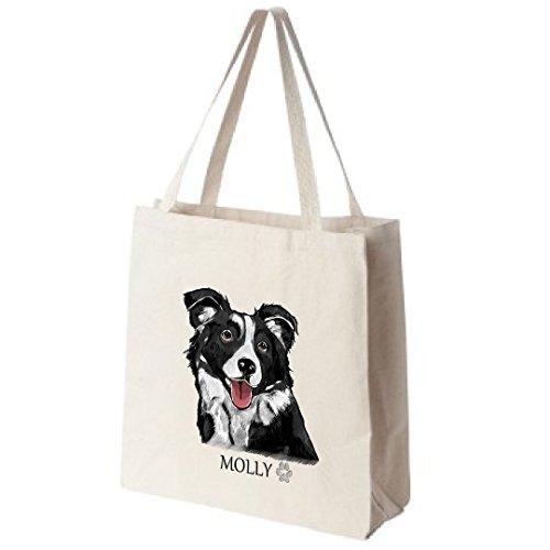 Cotton-Canvas-Reusable-Tote-Bag-Personalized-Border-Collie-Dog-Portrait-Color-Design-Choose-Your-Breed-0