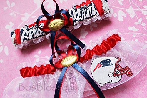 Customizable-New-England-Patriots-fabric-handmade-into-bridal-prom-white-organza-wedding-garter-set-with-football-charm-helmet-logo-0