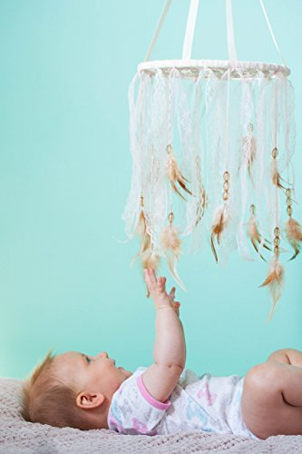Dreamcatcher-Crib-Mobile-Baby-DreamCatcher-Mobile-Bohemian-Nursery-Decoration-Diameter-92-23-cm-Ivory-and-Pale-Pink-Lace-BeigeYellow-Beads-and-beigebrownFeathers-0