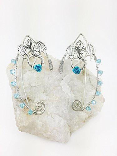 Elven-Ear-Cuffs-Silver-DRAGON-with-Rose-Fairy-Ear-Cuffs-Cosplay-Elf-Ear-Cuffs-Fantasy-Costume-Ear-Cuffs-Dragon-Ear-Cuffs-Wire-Ear-Cuffs-0