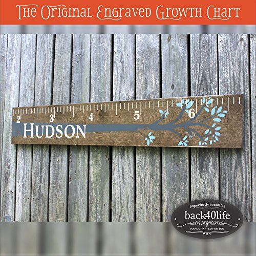 Engraved-wooden-ruler-growth-height-chart-The-Hudson-premium-engraved-lettering-with-tree-and-leaves-flourish-60-GC-60H-0