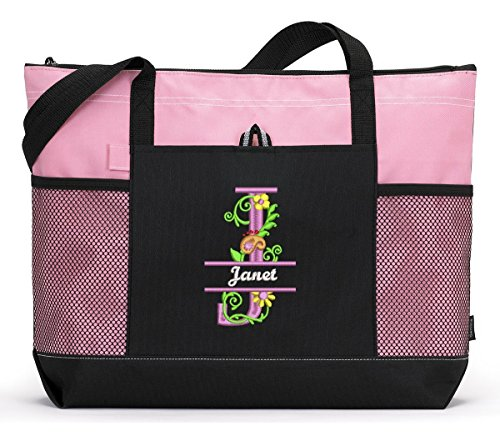 Fancy-Floral-Monogram-Personalized-Embroidered-Tote-Bag-with-Mesh-Pockets-0