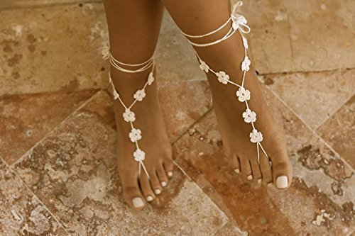 Beach Wedding Bridesmaid Gifts: Flower Barefoot Sandals In Ivory, Bridesmaid Gift For