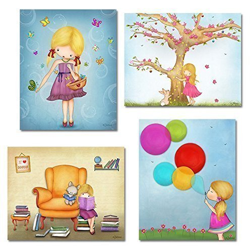 Girls-Room-Decor-Wall-Art-Prints-Posters-for-Kids-Bedroom-Customized-Little-Child-Artwork-8x1011x14-Set-of-4-Custom-Hair-and-Skin-Color-0