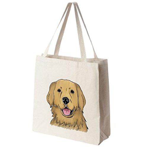 Golden-Retriever-Dog-Portrait-Color-Design-Extra-Large-Reusable-Cotton-Canvas-Grocery-Shopping-Tote-Bag-0