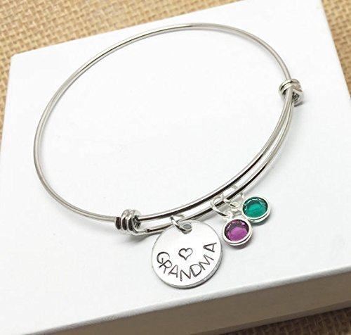 Grandma Bangle Charm Birthstones Bracelet