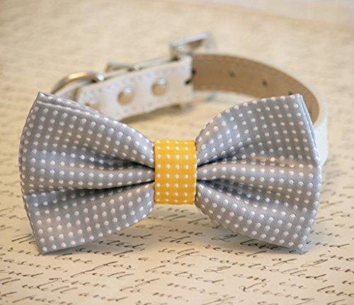 Gray-and-Yellow-Dog-Bow-Tie-collar-Birthday-Gift-Polka-Dots-Pet-wedding-0