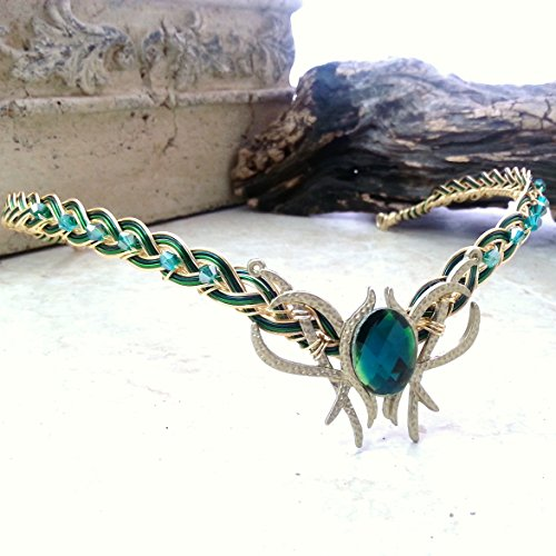 Green-Oracle-Gem-Elven-Circlet-Tiara-Crown-Celtic-Weave-Gold-or-Silver-0