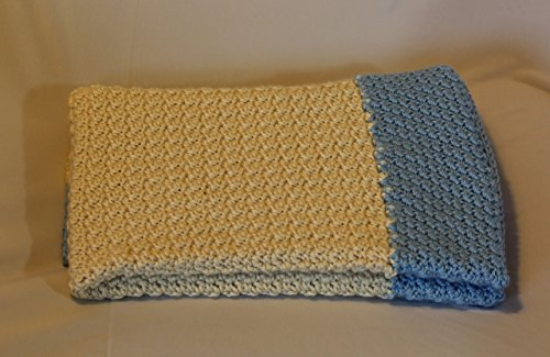 Handmade-Crochet-Baby-Blanket-in-Ivory-and-Blue-0
