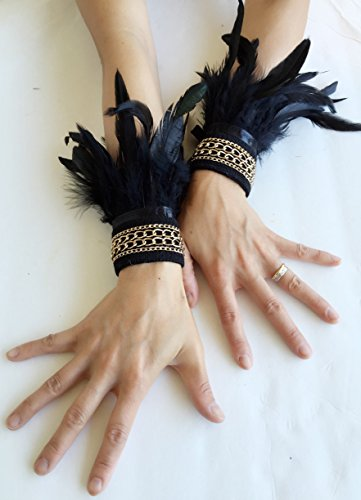 Handmade-Gothic-Black-Feather-Wrist-Cuffs-Victorian-Burlesque-Fantasy-feathers-costume-Halloween-0