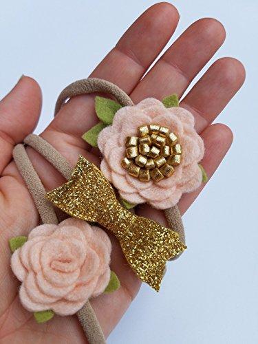 Handmade-Mini-Flowers-and-Bow-Set-of-3-baby-headbands-in-White-and-Blush-newborn-headbands-0