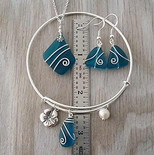 Handmade In Hawaii Wire Wrapped Teal Blue Sea Glass