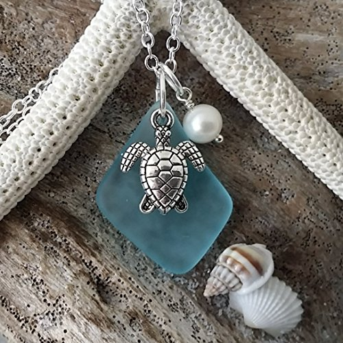 Handmade-in-Hawaii-blue-sea-glass-necklaceturtle-charm-fresh-water-pearl-sterling-silver-chaingift-boxbeach-glass-necklacesea-glass-jewelrygifts-for-her-blue-beach-jewelry-0