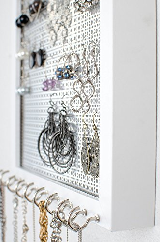 Hanging-Earring-Necklace-Organizer-8x10-White-Frame-Metal-Screen-Necklace-Hooks-0