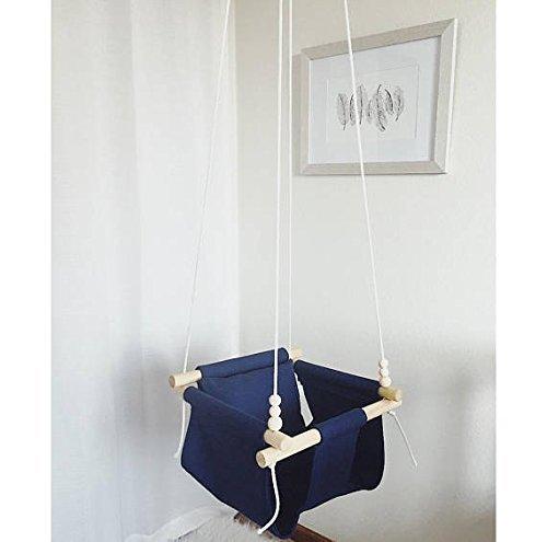 IndoorOutdoor-Navy-Blue-Fabric-Baby-Swing-0