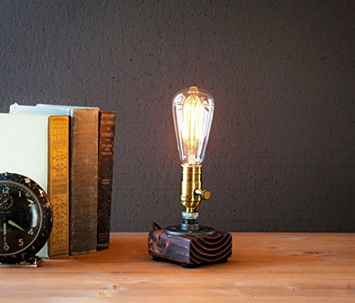 Industrial-Steampunk-table-pipe-lamp-with-Classic-Edison-bulb-and-Red-Mahogany-wood-base-0