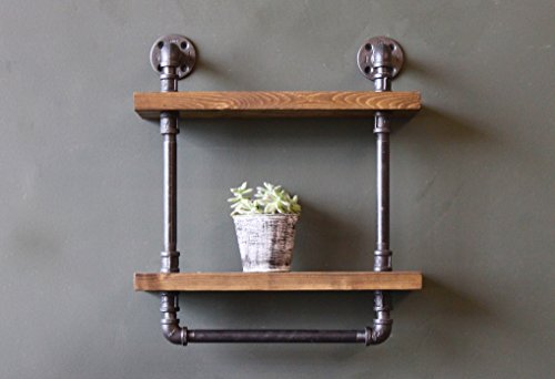 Industrial Style Bathroom Shelves With Towel Bar, Rustic