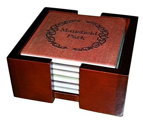 Jane Austen Books Coaster Set Sandstone Tile With Cork