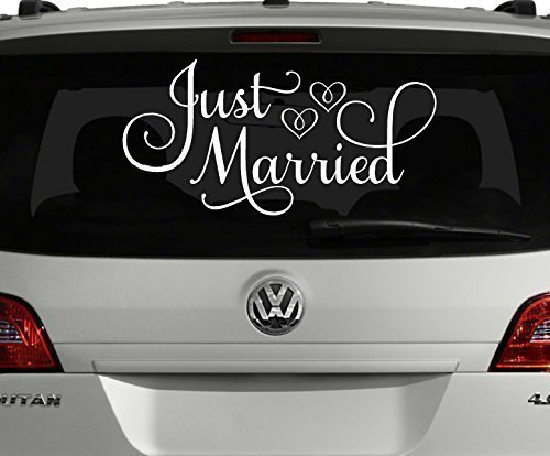 Just-Married-Car-Decal-White-24W-x-12H-Just-Married-Window-Sticker-0