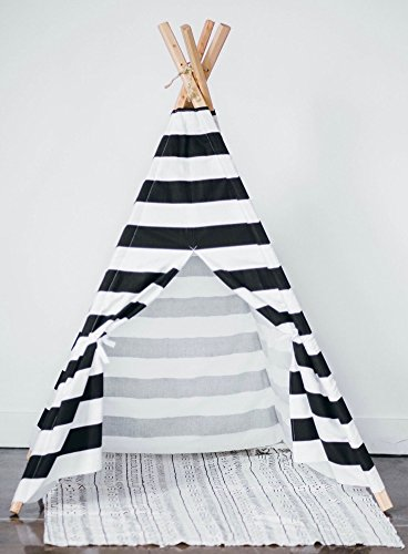 Kids-teepee-play-tent-Black-and-White-stripes-0