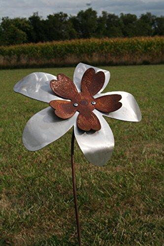 Large-Two-Tone-Metal-Flower-Garden-Stake-0